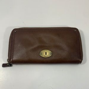 Fossil brown leather 3/4 zip wallet